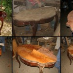 Renowacja stolika - wymiana forniru na blacie